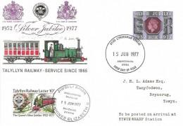 1977 Silver Jubilee 9p Talyllyn Railway FDC Aberystwyth FDI