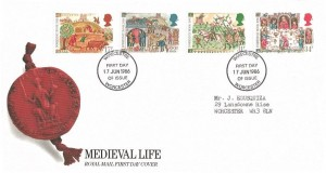 1986 Medieval Life,Royal Mail FDC, Worcester (Wirecestre) FDI
