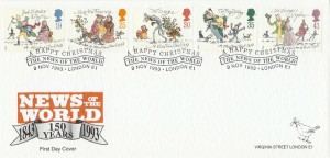 1993 Christmas, News of the World Official FDC, A Happy Christmas The News of the World London E1 H/S