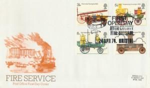 1974 Fire Service, PO FDC, Avon County Fire Brigade Bristol H/S