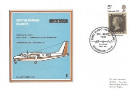 1970 Philympia Britten Norman Islander Bembridge Official FDC, First Flight IOW Calne Bembridge H/S