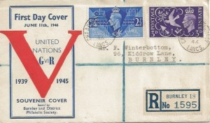 1946 Victory, Registered Burnley & District Philatelic Society FDC, Cheapside Burnley Lancs. cds.