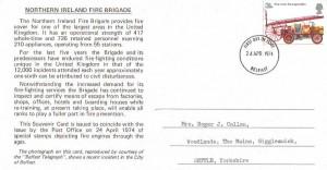 1974 First Fire Service Legislation, Set of 4 Northern Ireland Fire Brigade Cards, Belfast FDI, Scarce.