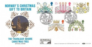 1980 Christmas Benham BOCS 26 Official FDC, Norway's Christmas Gift, Trafalgar Square London WC H/S