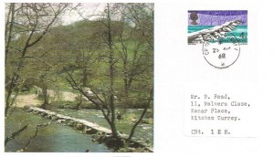 1968 British Bridges, Set of 4 Maxicards, Croydon Surrey cds.