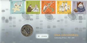 2003 DNA : The Secret of Life £2 Coin FDC, Cambridge H/S.
