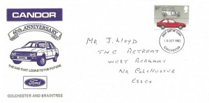 1982 British Motor Cars, Candor 60th Anniversary Ford Dealer FDC, 19½p Ford stamp, Colchester FDI