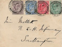 1902, King Edward VIII ½d, 1d, 2½d, 6d First Definitive Set, Plain Cover, FDC, Southampton cds