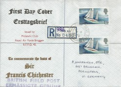 1967 Sir Francis Chichester, Registered RAF Bruggen FDC, Field Post Office 986 cds