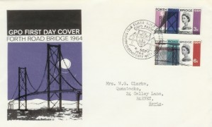 1964 Forth Road Bridge, GPO FDC, Ordinary Set with Forth Road Bridge South Queensferry H/S
