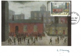 1967 Paintings, 1/6d Children coming out of school Maxicard, Signed by the Artist L S Lowry, Worthing Sussex FDI