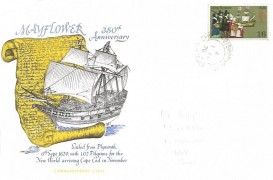 1970 General Anniversaries, 350th Anniversary of the Mayflower FDC, 1/6d Mayflower Stamp only, Bishopswood Chard Somerset cds
