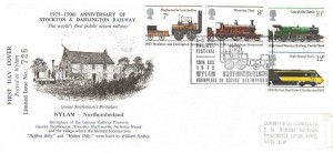 1975 Stockton & Darlington Railway, Wylam & District Round Table Official FDC, Wylam Birthplace of George Stephenson H/S