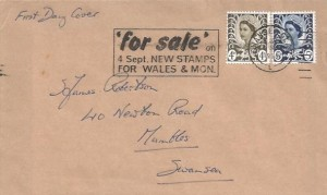 1968 4d & 5d Welsh Regionals, Plain FDC, 'for sale' on 4 Sept. NEW STAMPS FOR WALES & MON. Slogan, Swansea Glam.