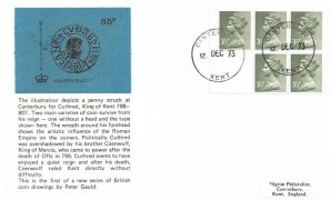 1973 35p Booklet (5x3½p pane), Pilgrim FDC, Canterbury Kent cds