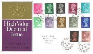 1971 QEII ½p to 9p Decimal Definitives, 1970 GPO FDC, Cowplain Portsmouth Hants.cds