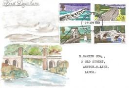 1968 British Bridges, Hand Painted FDC of the Menai Bridge, Manchester FDI