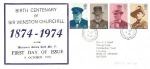 1974  Winston Churchill, Buccaneer Stamp Club FDC no.11, Honington Camp Bury St.Edmunds Suffolk cds