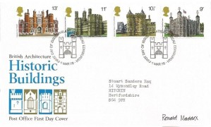 1978 Historic Buildings, Post Office FDC, First Day of Issue Philatelic Bureau Edinburgh H/S, Signed by Stamp Designer Ronald Maddox