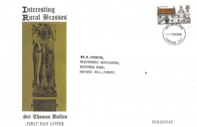 1970 Rural Architecture, Interesting Rural Brasses Sir Thomas Bullen FDC, 5d stamp only, London SE1 FDI