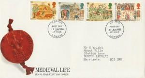 1986 Medieval Life Royal Mail FDC Leeds (Ledes) FDI