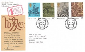 1976 William Caxton British Printing Industries Federation Official FDC, 500 Years of British Printing Westminster SW1 H/S