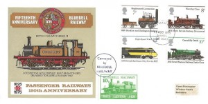 1975 Railways Fifteenth Anniversary of the Bluebell Railway FDC, Brighton East Sussex FDI & 10p Bluebell Railway Letter Stamp.