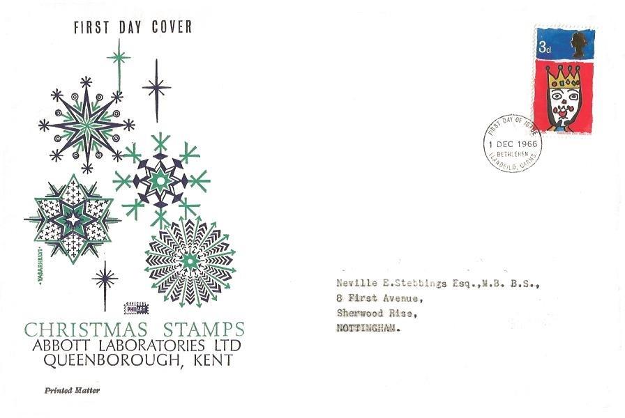 1966 Christmas, Large Philart FDC, 3d stamp only, Bethlehem Llandeilo Carms. FDI