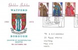 1972 Christmas, Watford Borough Council Golden Jubilee Official FDC Card, Borough Jubilee 1922-1972 Watford Herts. H/S