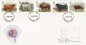 1984, British Cattle Royal Mail FDC, Signed by Stamp Designer, Barry Driscoll on Day of Issue, Portsmouth FDI