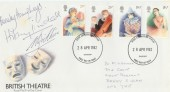 1982 British Theatre, Royal Mail FDC, signed by Hilary Tindall & Beverley Humphreys