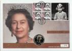 2001 Queen Elizabeth II 75th Birthday, Gibraltar Tristan da Cunha 50p Coin FDC