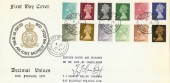 1971 ½p to 9p 12 values, on RAF Ballykelly Philatelic Club FDC. Signed. RARE