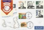 1995 Communication, Stuart FDC, Mullion cds, sent to Newfoundland to receive a St. John's cds