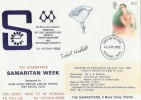 1982 Theatre, Samaritans Week FDC, Dropped by Parachute, Stevenage FDI. Signed