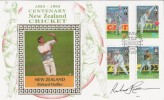 1994 New Zealand Centenary of Cricket 1895 - 1995, Benham Cover, Signed by Richard Hadlee