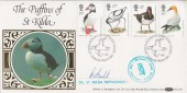 1989 Sea Birds, Benham BLCS38 Official Puffins of St. Kilda FDC, Signed by A Ball Commander