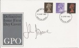1967 - 1968 Pre-Decimal Machin on 4 FDC's. Signed by John Hedgecoe. Scarce