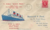 1936, First Voyage of the RMS Queen Mary, Southampton - New York Cover