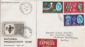 1962 National Productivity Year, Phosphor Set, Express Delivery FDC, Finsbury Square B.O. EC1 cds