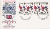 1966 England World Cup Winners, Strip of 4 Philart FDC, Eastbourne FDI