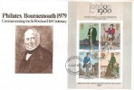 1979 Rowland Hill Miniature Sheet, Philatex Bournemouth Special FDC