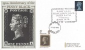 1970 Philympia, 5d Stamp, Double Dated, with 130th Anniversary of the Penny Black Bath 2nd May 1970 Cover