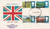 1966 British Landscapes, Unusual Union Jack FDC, Ordinary Set, London EC FDI
