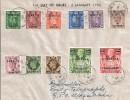 1950 Set of 11 KGVI Definitives with B.A Somalia Overprints FDC Very Scarce