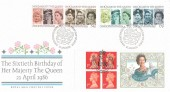 1986 Her Majesty The Queen Sixtieth Birthday, Royal Mail FDC, Doubled with her 1996 70th Birthday Commemorative Label