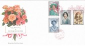 1990 The Queen Mother's 90th Birthday, Royal Mail FDC, Visit Forres Europe in Bloom Slogan Elgin