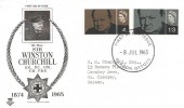 1965 Sir Winston Churchill, Stuart FDC, Bladon Oxford FDI, he is buried at Bladon