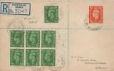 1941 King George VI, ½d Pale Green, Registered Plain, Kingston-on-Thames Surrey cds