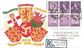 1958 Set of 6 3d Regionals, Guernsey, Jersey, Isle of Man, N.Ireland, Scotland, Wales on one Registered Illustrated FDC, Liverpool Street Station EC2 cds
